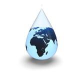 Terra dentro da gota da água Imagens de Stock