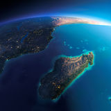 Terra dettagliata L'Africa ed il Madagascar illustrazione vettoriale