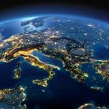 Terra dettagliata L'Italia, la Grecia ed il mar Mediterraneo su un MOO illustrazione vettoriale
