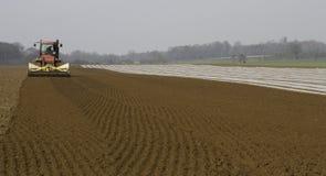 Terra di coltivazione e mais di perforazione Fotografie Stock