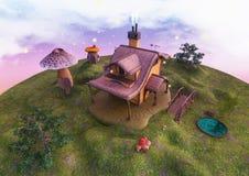 Terra di favola con una fabbrica di fantasia e una casa del fungo, alberi e un piccolo lago Fotografia Stock