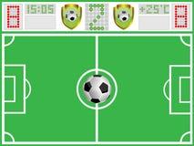 Terra di gioco del calcio e scheda di sport Immagini Stock