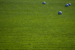 Terra di gioco del calcio vuota verde con le sfere Immagini Stock