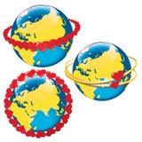 Terra di Lanet con i cuori in orbita. Vettore Illustrat Fotografie Stock Libere da Diritti