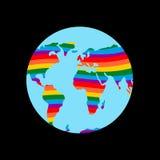 Terra di LGBT Continente del pianeta e colori gay dell'arcobaleno della bandiera illustrazione di stock