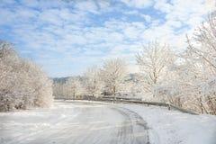 Terra di meraviglia di inverno - strada sotto neve Immagini Stock Libere da Diritti