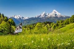 Terra di Nationalpark Berchtesgadener, Baviera, Germania Immagini Stock Libere da Diritti