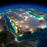 Terra di notte. L'Arabia Saudita Immagine Stock