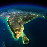 Terra di notte. L'India e lo Sri Lanka Fotografia Stock
