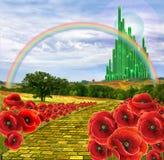 Terra di Oz e della strada gialla del mattone Immagine Stock