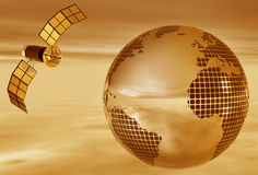 Terra di seppia con il satellite Immagine Stock