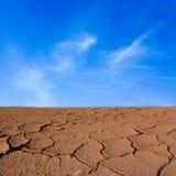 Terra di siccità con il cielo Fotografia Stock Libera da Diritti