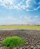 Terra di siccità sotto il cielo nuvoloso Immagini Stock Libere da Diritti