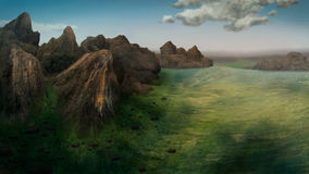 Terra Digital Painting. Digital painting of a distant mountain range from an aerial view Stock Images