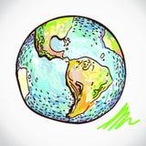 Terra disegnata a mano su bianco Royalty Illustrazione gratis