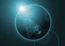 Terra, disegno floreale, azzurro, verde Illustrazione di Stock