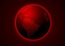 Terra, disegno floreale, rosso Illustrazione Vettoriale