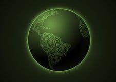 Terra, disegno floreale, verde Illustrazione Vettoriale