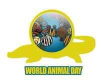 Terra do ícone com texturas animais Foto de Stock Royalty Free