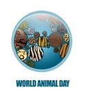 Terra do ícone com texturas animais Imagem de Stock