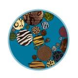Terra do ícone com texturas animais Imagens de Stock