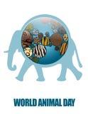 Terra do ícone com texturas animais Imagens de Stock Royalty Free