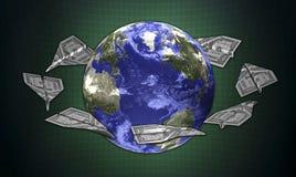 terra do conceito 3d e o dinheiro Imagem de Stock Royalty Free
