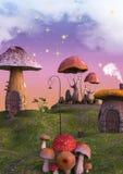 Terra do conto de fadas completamente dos cogumelos e das lanternas Imagens de Stock