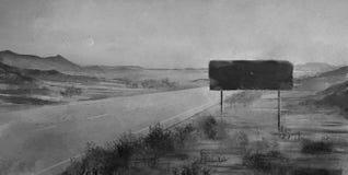 Terra do deserto de pintura do ambiente ilustração do vetor