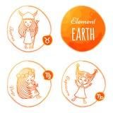 Terra do elemento do zodíaco Imagens de Stock Royalty Free