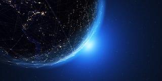 Terra do espaço na noite com um sistema de comunicação digital 3 ilustração royalty free