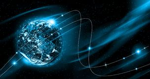 Terra do espaço O melhor conceito do Internet do negócio global da série dos conceitos Elementos desta imagem fornecidos perto Imagem de Stock