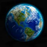 Terra do espaço que mostra o norte e a Ámérica do Sul. Imagem detalhada Imagem de Stock