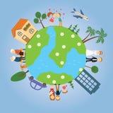 Terra do planeta com árvores pintadas, as casas, os carros, povos em torno dele Imagem de Stock
