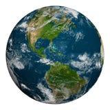 Terra do planeta com nuvens Norte e Ámérica do Sul Imagens de Stock