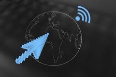 Terra do planeta com a seta do ponteiro de rato e o symbo da conexão de Wi-Fi Fotografia de Stock