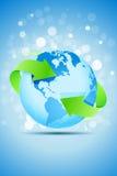 Terra do planeta com setas verdes ilustração royalty free