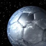 Terra do planeta como a bola de futebol, fim Foto de Stock Royalty Free