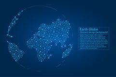 Terra do planeta criada das linhas, pontos, polígono Fundo abstrato do globo Vetor ilustração do vetor