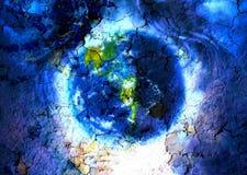 Terra do planeta da pintura no espaço com efeito de fundo dos estalidos do cabelo e da estrutura da mulher Fotografia de Stock