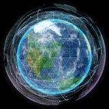 Terra do planeta da rede no espaço Imagens de Stock Royalty Free