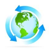 Terra do planeta do ícone com seta ilustração stock