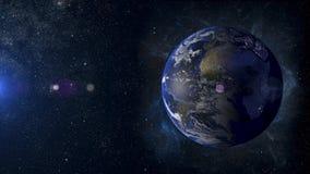 Terra do planeta do sistema solar na rendição do fundo 3d da nebulosa Foto de Stock