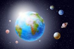 Terra do planeta e planetas do sistema solar fotografia de stock royalty free