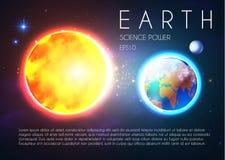 Terra do planeta e Sun de brilho no espaço com estrelas Nackground de Univerce Celestial Design realístico ilustração do vetor