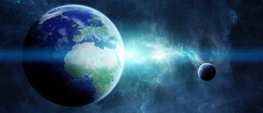 Terra do planeta em elementos da rendição do espaço 3D de furnis desta imagem Foto de Stock