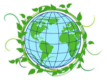 Terra do planeta encoberta na grinalda verde ilustração do vetor