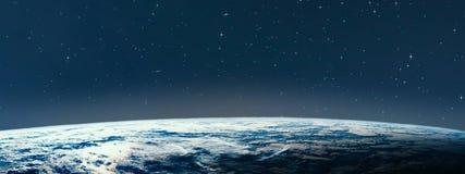 Terra do planeta do espaço na noite fotografia de stock royalty free