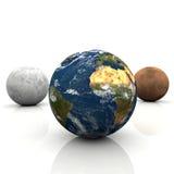 A terra do planeta, lua e estraga ilustração stock