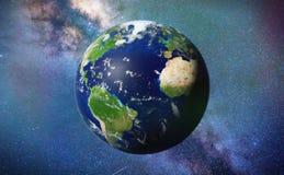 Terra do planeta na frente da galáxia bonita da Via Látea Fotografia de Stock